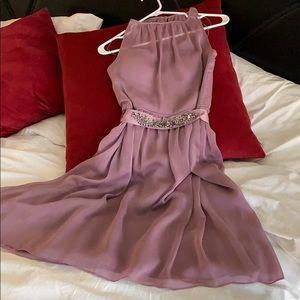 Designer Lavender Dress with Rhinestone belt